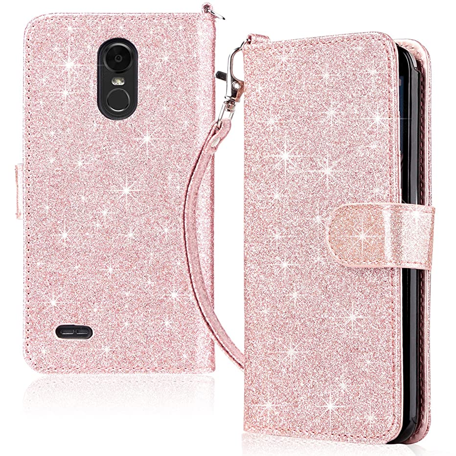 UARMOR Wallet Case for LG Stylo 3 / Stylo 3 Plus/LG LS777, Glitter Bling Sparkle Shiny Leather Folio Case with Kickstand and Credit Card Slots Cash Holder, Rose Gold