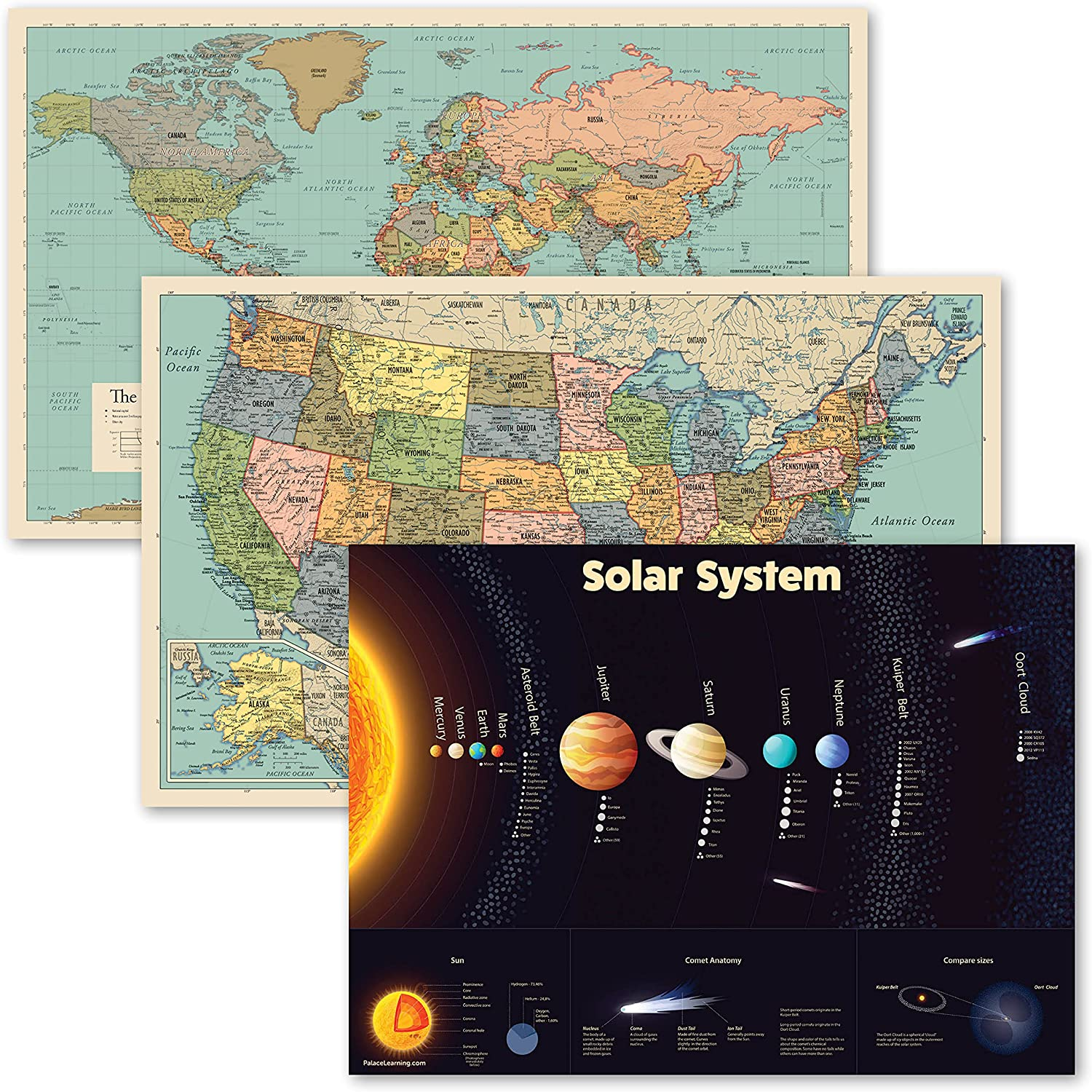 3 Mesa Mall Pack - World USA Map Chart Solar System New mail order Color + Tan Poster