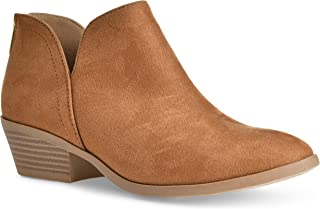 Women's Madeline Western Almond Round Toe Slip on Bootie - Low Stack Heel - Zip Up - Casual Ankle Boot