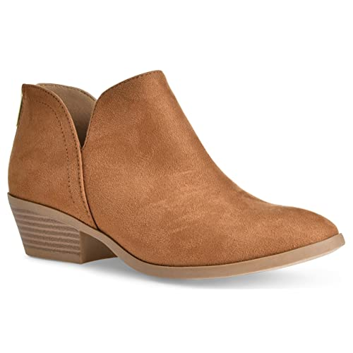 701e8fe5839 Women's Madeline Western Almond Round Toe Slip on Bootie - Low Stack Heel -  Zip Up