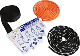 SGT KNOTS Tying Kit - (17) Waterproof Instruction Cards, (2) 6ft Double-Braided Ropes, (1) 6ft Nylon Webbing