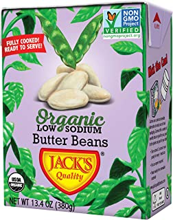 Jack's Organic Butter Beans – Packed with Protein & Fiber, Heart Healthy, Low Sodium, Non GMO, BPA Free, Ready-to-eat, 100% Sustainable Packaging with Easy Open Tearstrip, [8 Pack of 13.4oz cartons]