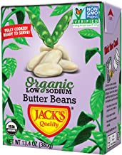 Jack's Organic Butter Beans (8 PACK) – Filled with Protein & Fiber, Heart Healthy, Low Sodium, Non GMO, BPA Free, Ready-to-eat, 100% Sustainable Packaging with Easy Open Tearstrip, [13.4oz cartons]