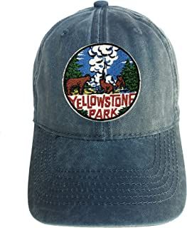 Yellowstone National Park Adjustable Curved Bill Strap Back Dad Hat Baseball Cap Souvenir National Parks Logo Series