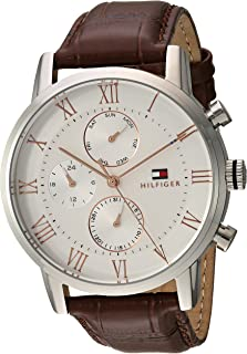 Men's Sophisticated Sport Stainless Steel Quartz Watch with Leather Strap, Brown, 21 (Model: 1791400)