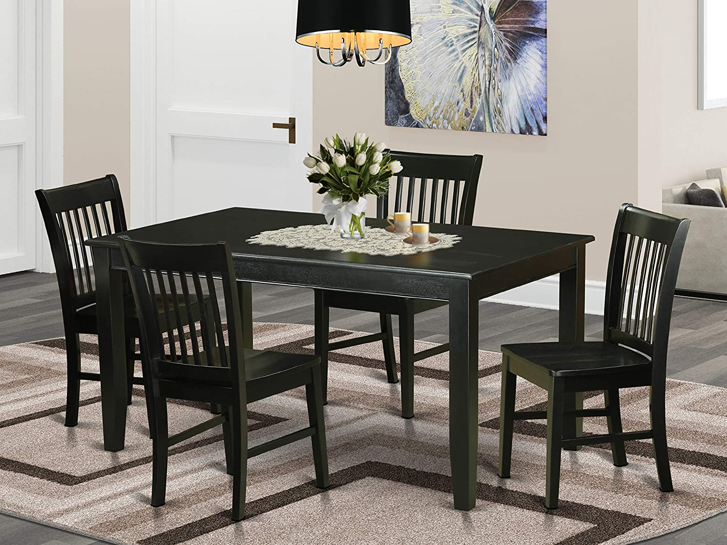 East West Furniture 9 Piece Kitchen Table Chairs Set Included a Rectangular  Modern Kitchen Table and 9 Wood Chairs   Solid Wood Mid Century Dining ...