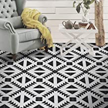 """Moroccan Mosaic & Tile House CTP60-01 Tadla Handmade Cement Tile in Black and White, Pack of 12 8""""x8"""","""