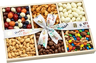 Broadway Basketeers Birthday Gift Basket Sectional Gourmet Snack, Candy & Nuts Tray - Perfect Way to Say Happy Birthday Gifts