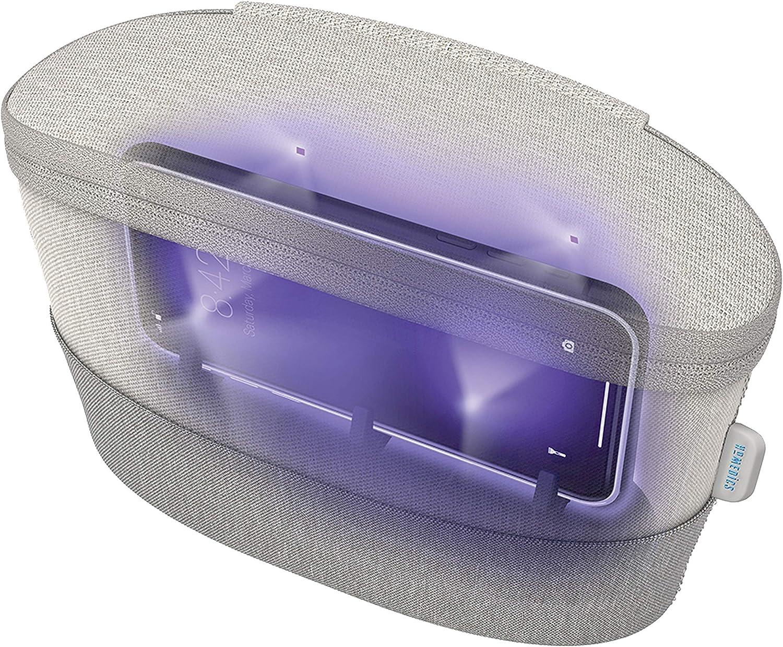 HoMedics UV Clean Sanitizer Bag Portable UV Light Sanitizer, Fast Germ Sanitizer for Cell Phone, Makeup Tools, Credit Card, Keys, Glasses, Kills 99.9% of Bacteria & Viruses, Grey