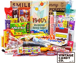 VINTAGE CANDY CO. 1940's RETRO CANDY GIFT BOX - 40s Nostalgia Candies - Throwback FORTIES Fun Gag Gift Basket - PERFECT '40s Candies For Adults, College Students, Men or Women, Kids, Teens