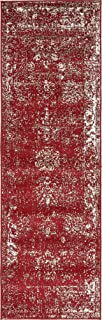 Unique Loom 3134048 Sofia Collection Traditional Vintage Beige Area Rug, 2' x 7' Runner, Burgundy