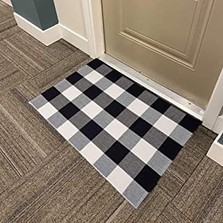Sponsored Ad - Buffalo Plaid Rug 24 x 36 Inch Black and White Check Cotton Hand-Woven Indoor or Outdoor Doormat Layered Do...