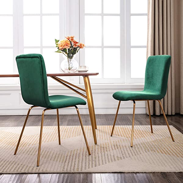 Art Leon Mid Century Modern Velvet Fabric Dining Chairs Set Of 2 With Golden Legs And Floor Protector Green