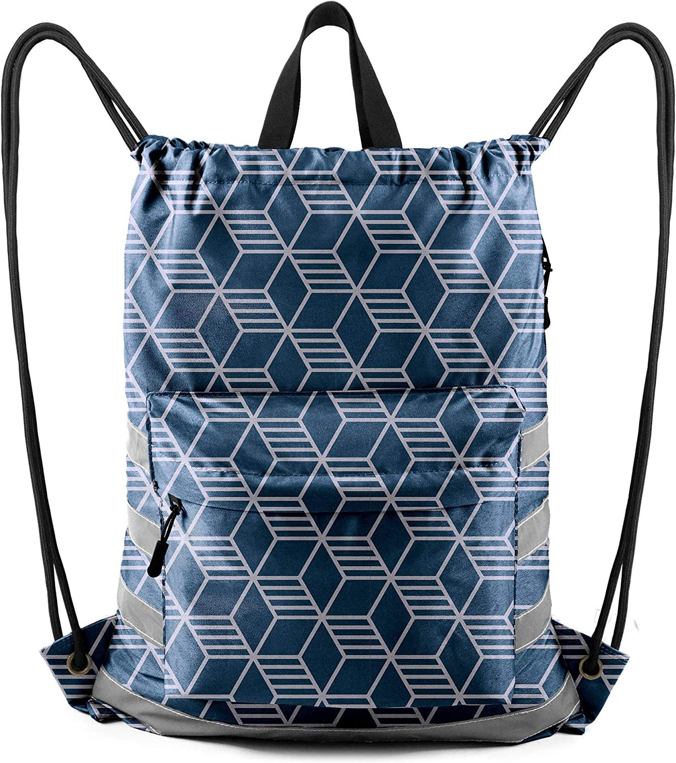 Black with White Polka Dots 1 Pack Drawstring Bag with Front Zipper Bag Inside Pouch Oxford Fabric Drawstring Reflective Backpack for Men Women Gym Shopping Sport Yoga