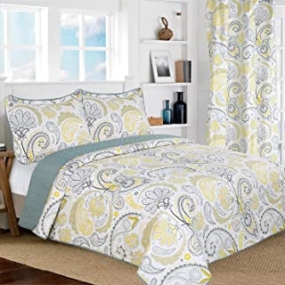 All American Collection New 3pc Yellow/Grey PaisleyPrinted Reversible Bedspread/Quilt Set (King/Cal King Size)