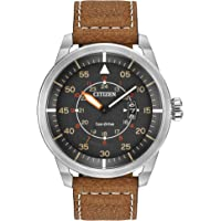 Citizen Eco-Drive Stainless Steel Men's Watch with Brown Leather Strap (AW1361-10H)