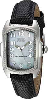 Invicta Women`s Lupah Stainless Steel Swiss-Quartz Watch with Leather Calfskin Strap, Black, 16 (Model: 20524)