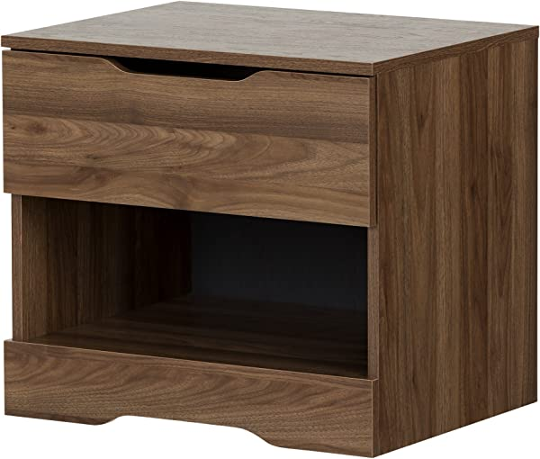 South Shore 11284 Holland 1 Drawer Nightstand Natural Walnut