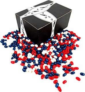 Jelly Belly Patriotic Jelly Beans Variety: One 1 lb Bag of Assorted Red, White, and Blue Jelly Beans in a BlackTie Box
