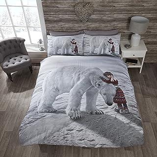 Rapport Ours Polaire Parure de lit avec Housse de Couette et taie d'oreiller Parure de lit, Multicolore, Unique