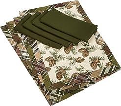 مفرش أطباق DII Pinecone Lodge مطبوع عليه حواف خضراء اللون، مجموعة من 8 قطع