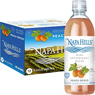 Napa Hills Wine Antioxidant Water - Peach Flavored Wine Water, Non-Alcoholic Resveratrol Enriched Drink - No Wine Taste, N...