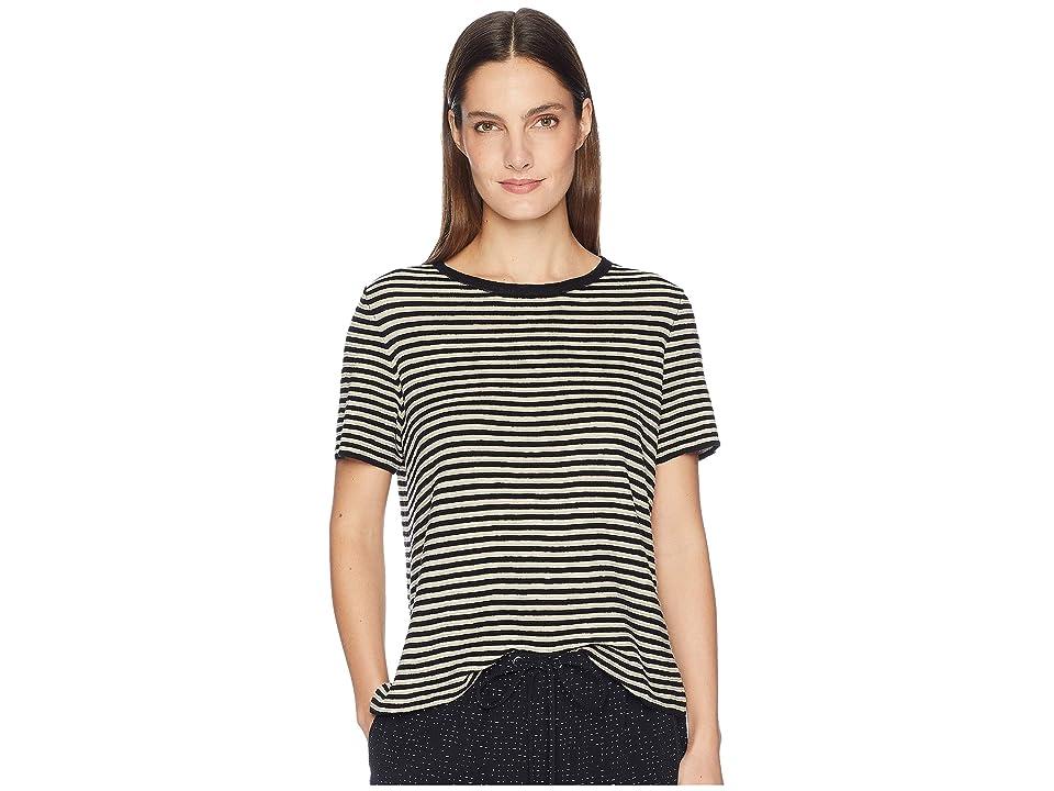 Eileen Fisher Organic Linen Tencel Round Neck Short Sleeve Top (Black) Women