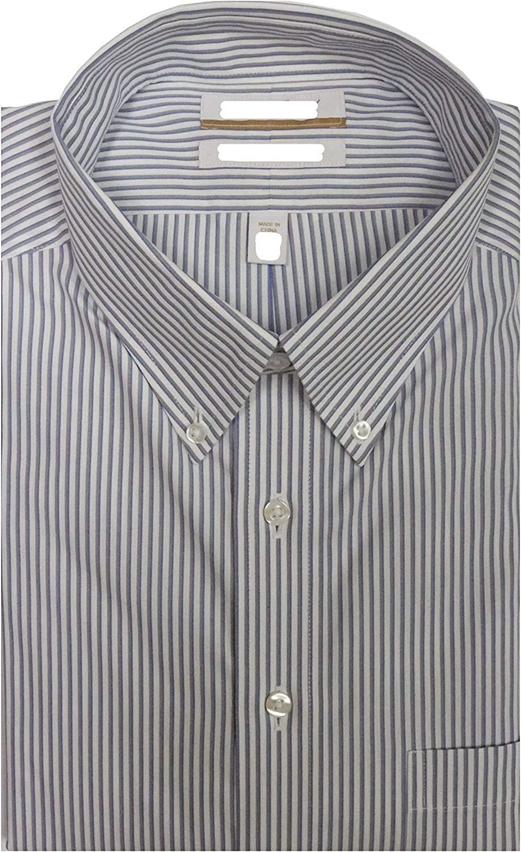 Gold Label Roundtree & Yorke Non-Iron Regular Button Down Stripe Dress Shirt S95DG014 Grey/Blue Multi