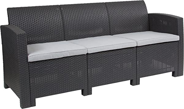 Flash Furniture Dark Gray Faux Rattan Sofa With All Weather Light Gray Cushions