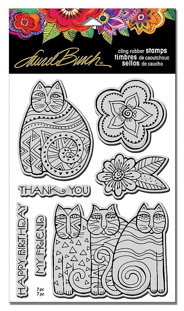 Stampendous LBCRS09 Cling Stamp, Laurel Burch Feline Blooms