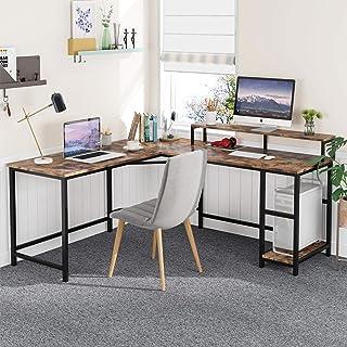 Tribesigns Computer-Bureau Bureau L-vormige houten hoekbureau met planken, Computer Workstation Grote PC Gaming Bureau met...