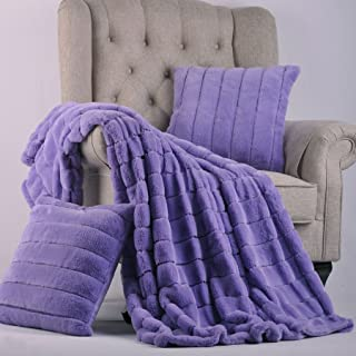 Home Soft Things Rabbit Fur Throw with 2 Pillow Combo Set, 50 x 60, Paisley Purple