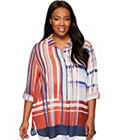 NIC+ZOE - Plus Size Painted Plaid Top