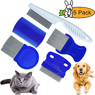 GNAWRISHING Flea Comb 5Pcs with High Strength Teeth Durable Pet Tear Stain Remover Combs, Pet Dog Cat Grooming Comb Set Effective Float Hair Remover…