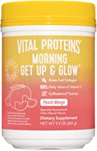Vital Proteins Morning Get Up and Glow Collagen Peptides Powder Supplement, 90mg of Caffeine for Energy Plus Vitamin C, Biotin and Hyaluronic Acid - 9.3oz, Peach Mango