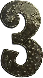 Metal House Numbers, Haiti Recycle Oil Drums, 7.62 Inches, Home Decor, Curb Appeal, Haitian (3)