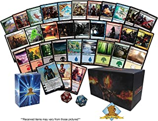 50 Magic The Gathering Cards with 1 Planeswalker - 9 Rares - Bonus 80 Pack of Lands - 1 Spindown in Every Bundle! Comes in Empty Fat Pack Box! Includes Golden Groundhog Deck Box!