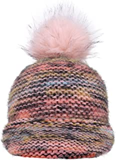 Women's Ultra-Soft Faux Fur Pompom Multicolor Knit Winter Beanie