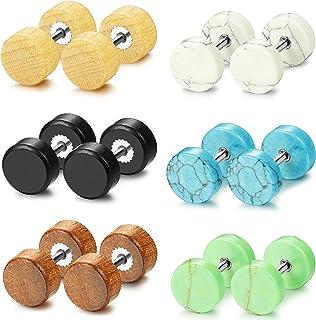 Subiceto Fake Ear Plugs Stud Earrings for Women Men Stainless Steel Wood Stone Tunnel Earrings 16G-18G