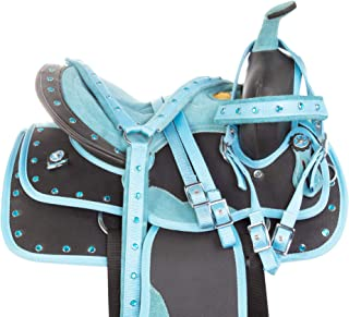 """10"""" 12"""" 13"""" Youth Western Horse Pony Saddle TACK Set Kids Barrel Racing Show Trail Blue Crystal Bridle Breastplate REINS PAD"""