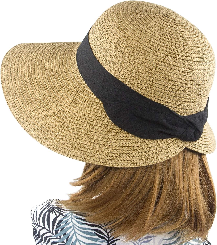 Women's Sun Hat Wide Brim Foldable Straw Hats Summer Travel Beach Cap