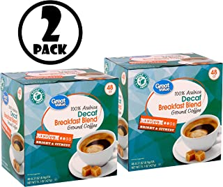 (PACK OF 2) Great Value 100% Arabica Decaf Breakfast Blend Ground Coffee, 15.1 oz, 48 Count