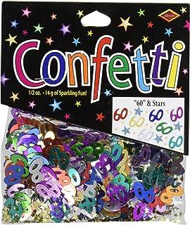 Beistle 60 and Stars Cutout Plastic Confetti, 1 Pack, Multicolored
