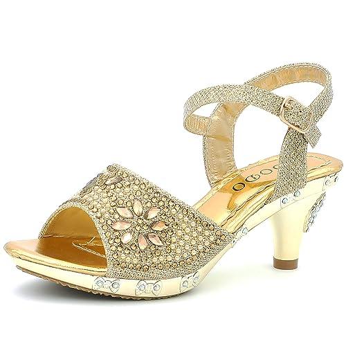 6b3d3376d4e7 CAKI Girls Dress Sandals Kids Toddler Heels Shoes Glittery Shine Rhinestone  Sling Back Wedding Party