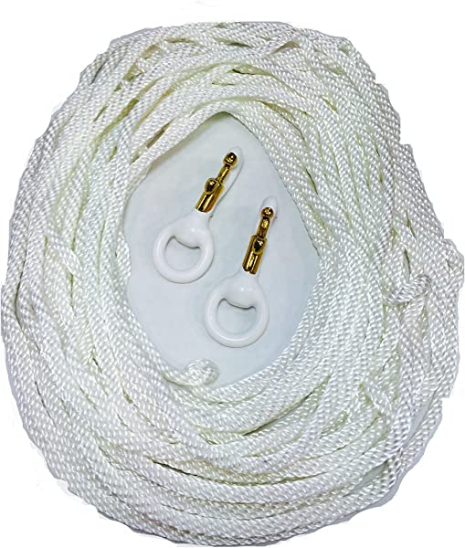 Commercial Flagpole Repair Kit 50 FT X 1 4 Diameter WindStrong White Flagpole Polypropylene Halyard Flagpole Rope And Lot Of 2 3 Inch Deluxe White Rubber Coated Brass Flagpole Clip Snap Hooks