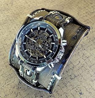 Distressed black wrist watch, Skeleton watch, Men's leather watch, Leather watch cuff, Rustic watch, steampunk watch, leather bracelet