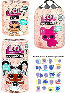 L.O.L. Surprise! MGA (3-Pack) Bundle #Hairgoals Fuzzy Pets Lil Sisters Makeover Series 5 Includes Scratch N Sniff Grape Stickers!