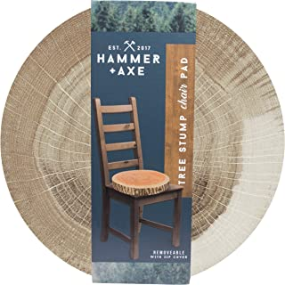 Hammer + Axe Tree Stump Chair Pad, Large Comfortable Soft Foam Cushion for Barstools and Hard Seats, Perfect for Car or Camping, Removable Zip Cover, 15.25 in. Diameter x 3 in. Depth, Cut Log Look