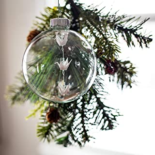 Christmas Decoration Ornament Origami white Paper crane glass tree bulb with clear Swarovski Crystals