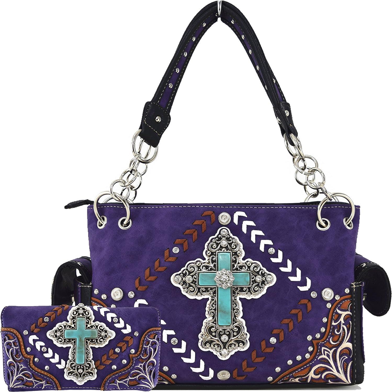 Western Style Rhinestone Cross Studded Floral Country Purse Women Handbag Shoulder Bag Wallet Set Purple